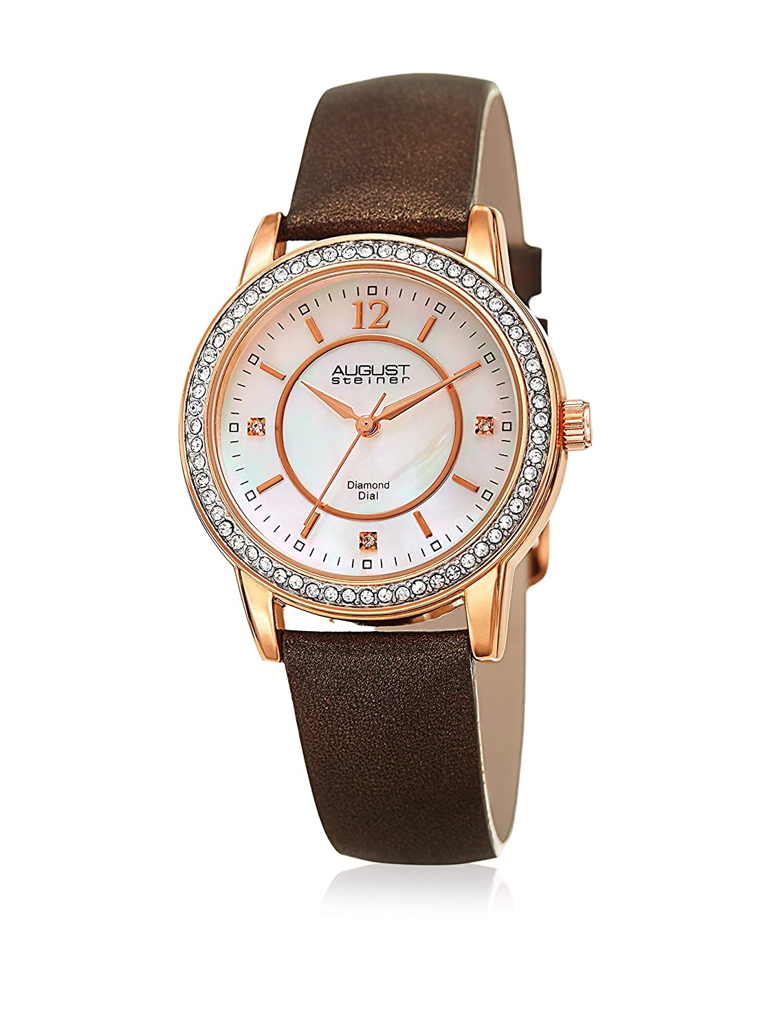 August Steiner Women 's QuartzステンレススチールandレザーCasual Watch, Color : Brown (Model : as8227br) B01M0LPFU7