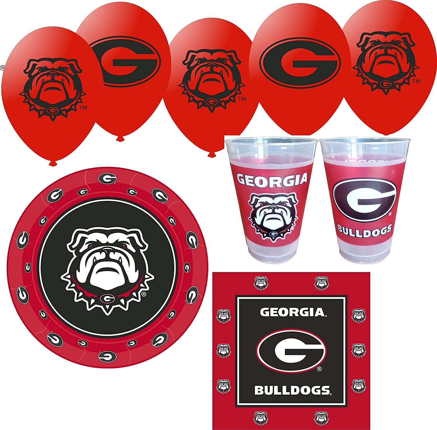 Westrick Georgia Bulldogs Party Supplies for 24 Guests - 91 Pieces
