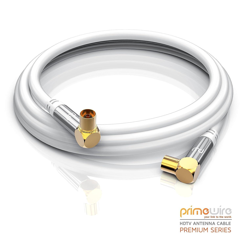 CSL-Computer 0,5m Cable de Antena HQ HDTV Premium | En ángulo 90° | Factor de blindaje 135 dB | Resistencia: 75 ohmios | Cable coaxial | Clavija coaxial ...