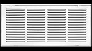 """24"""" X 10 Steel Return Air Filter Grille for 1"""" Filter - Fixed Hinged - Ceiling Recommended - HVAC Duct Cover - Flat Stamped Face - White [Outer Dimensions: 26.5 X 11.75]"""