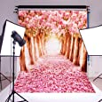 MOHOO 7x5ft Photography Backdrop Cherry Blossoms Street Photo Background Studio Props (Silk Material )