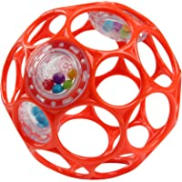 """Bright Starts Oball Rattle Easy-Grasp Toy - Red - 4"""", Ages Newborn Plus"""