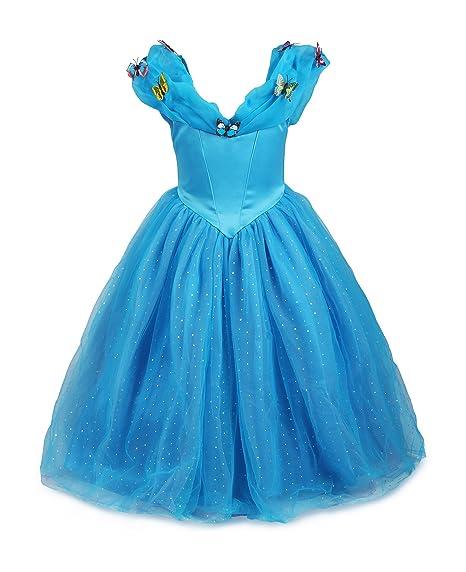 0f60add19631c ReliBeauty - Robe - Fille - Princesse Cinderella Maxi 9189 Costume  d Halloween Cosplay Déguisement