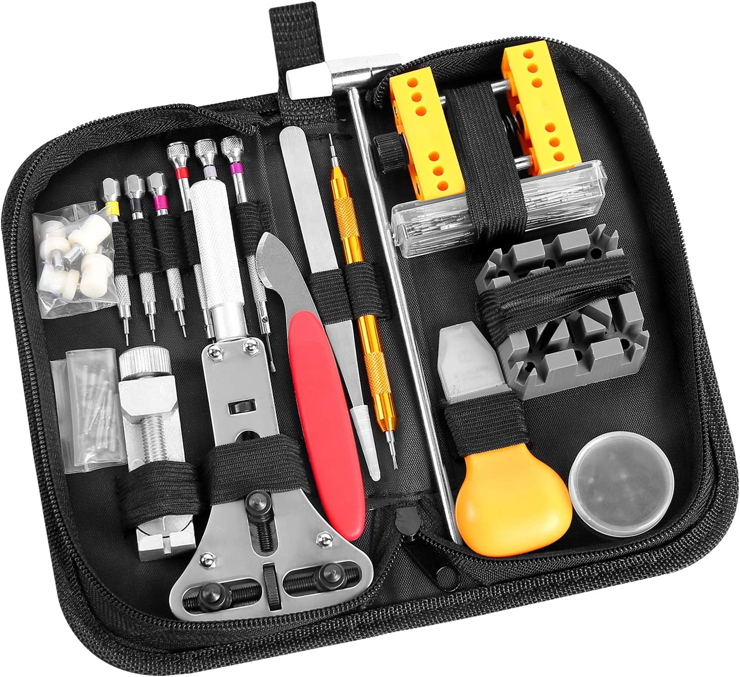 Ohuhu 174 PCS Watch Repair Tool Kit, Case Opener Spring Bar Watch Band Link Tool Set With Carrying Bag, Replace Watch Battery Helper Multifunctional Tools With User Manual For Beginner: Home Improvement