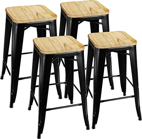 ZENY Set of 8 Metal Bar Stools 26 Counter Height with Wooden Seat Stackable Indoor Outdoor Barstools, 330 lbs Capacity