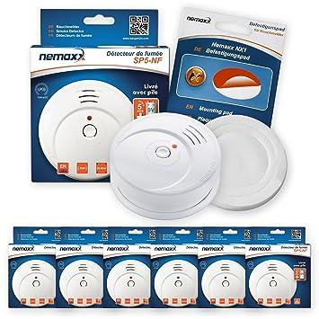 6X Nemaxx SP5-NF Detector de Humo Pila incluida de 9V - Blanco + NX1 Pad de fijación: Amazon.es: Bricolaje y herramientas