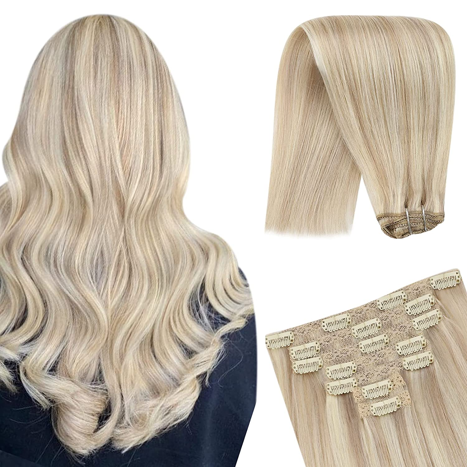 YoungSee Blonde Hair Branded goods Extensions 12inch Extens in Clip Popular overseas Human