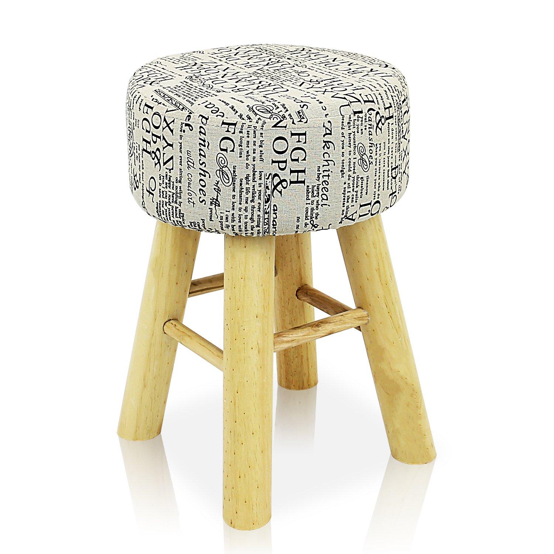 DL furniture - Round Ottoman Foot Stool, 4 Leg Stands, Long Leg, Round Shape  in Script Linen Fabric