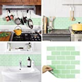 BEAUSTILE Peel and Stick Backsplash Fire retardaut Tile Sheet (2pcs) (Subway Mint)