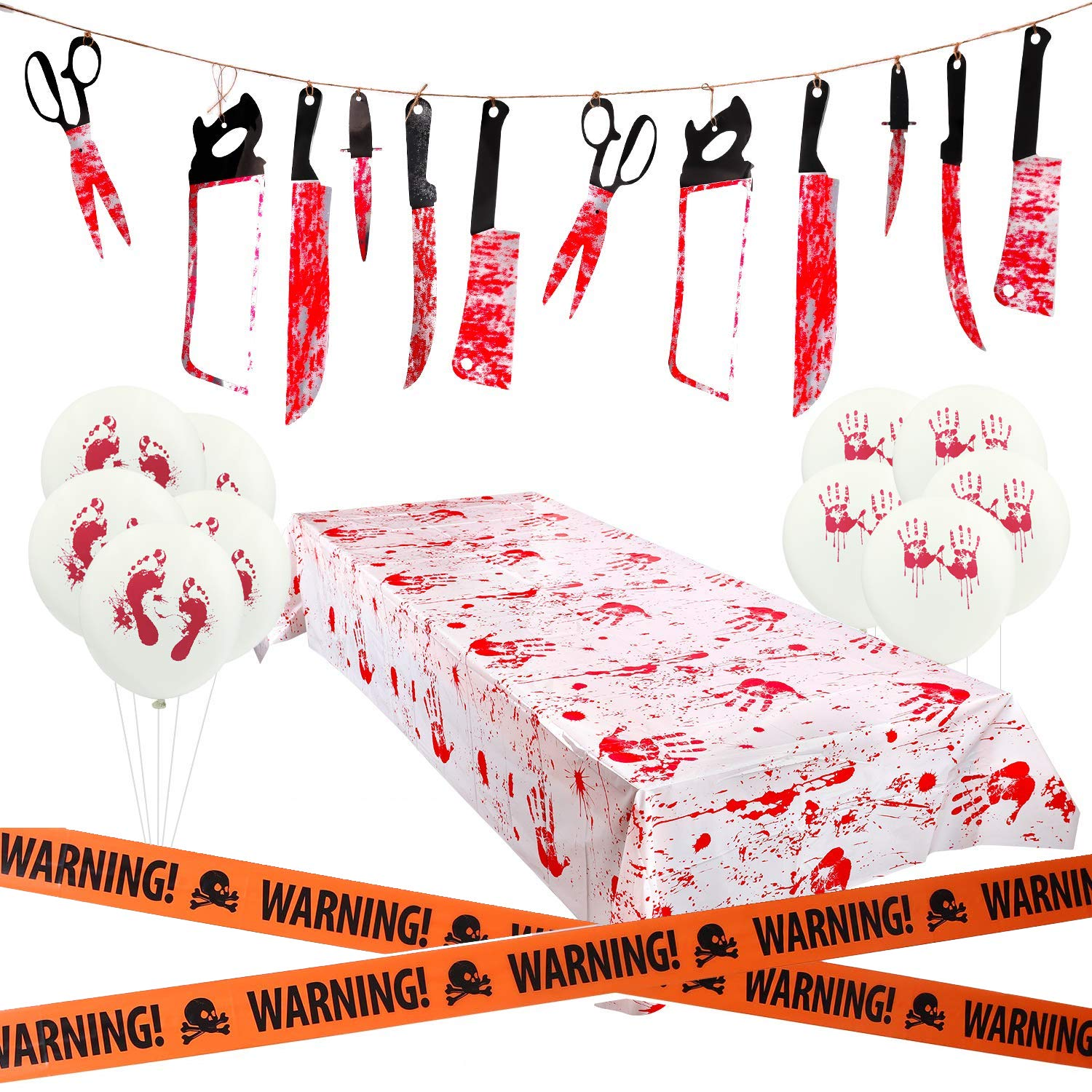 HusDow Halloween Scary Decorations, 1pcs Bloody Garland Tortune Weapons Banner,1pcs Bloody Print Halloween Tablecloth,and 10pcs Bloody Balloons 1pcs Waring Tape for Halloween Haunted House Decor