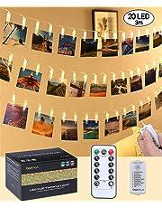 qoolivin recargable Powered Clip foto cadena luces 3 m 20 luces Clip