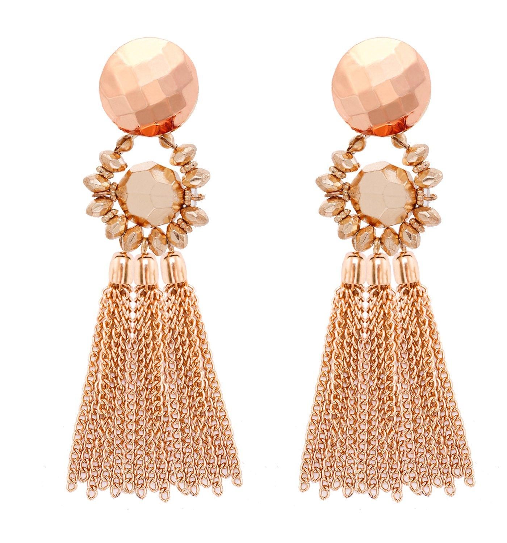 MOLOCH Bohemian Tassel Chandelier Dangle Earring for Women Girl Piercing Earring Clip On Earrings Long Drop Statement Earrings B07C6H1TQD_US