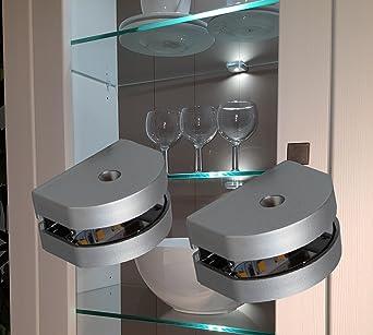 Mod.2295-4 Glasbodenbeleuchtung Vitrinenleuchte Schrankbeleuchtung warmwei/ß Komplettset LED 3 Seiten Glaskantenbeleuchtung 4-er Set Clip