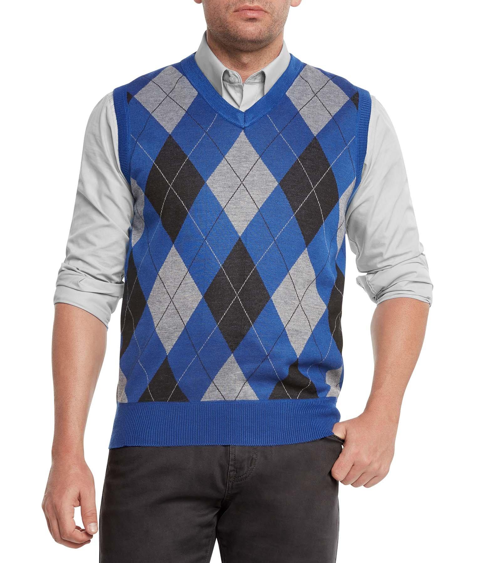 True Rock Men's Argyle V-Neck Sweater Vest-Royal/Blk/Gray-Large