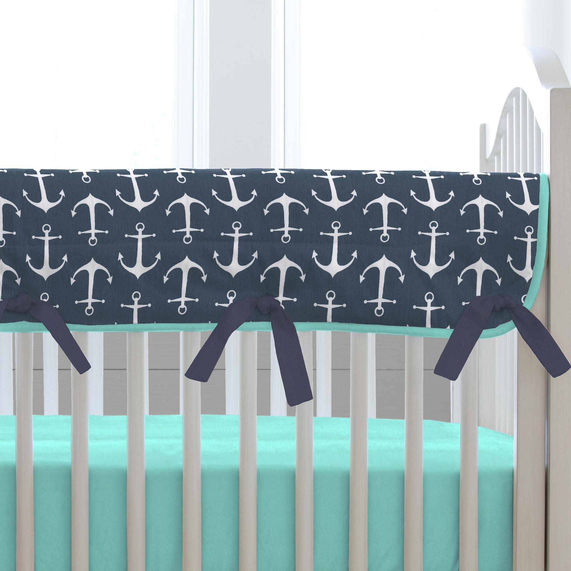 Carousel Designs Navy Anchors Crib Rail Cover by Carousel Designs