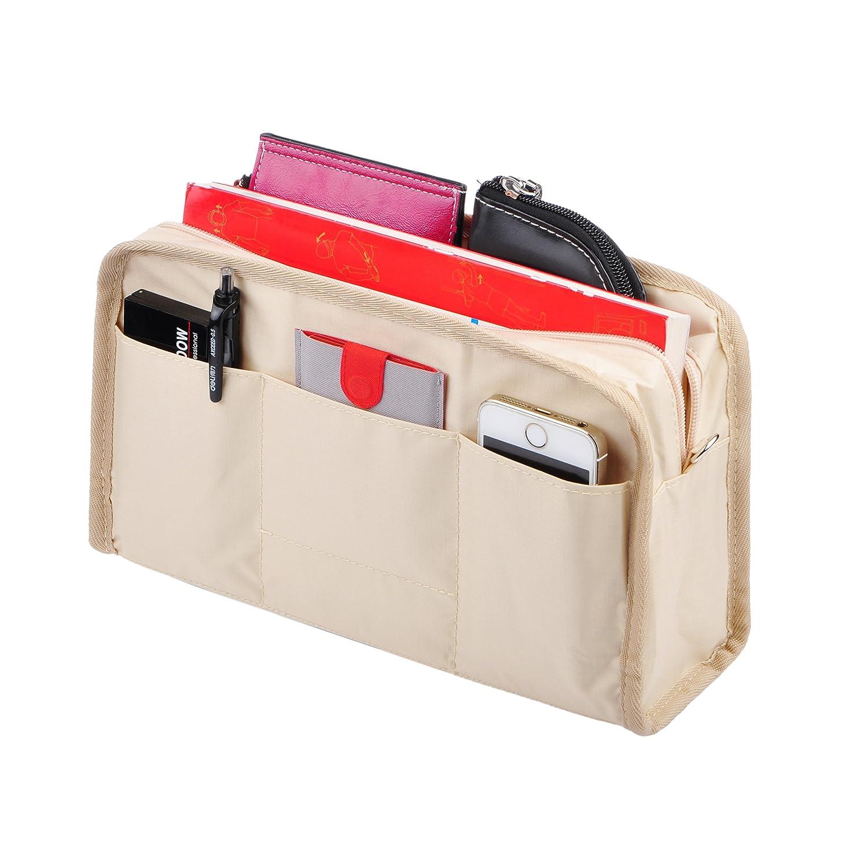 Beige Vercord Sturdy MultiPocket Insert Handbag Bag Organizer Waterresistant Large Zipper Bag In Bag