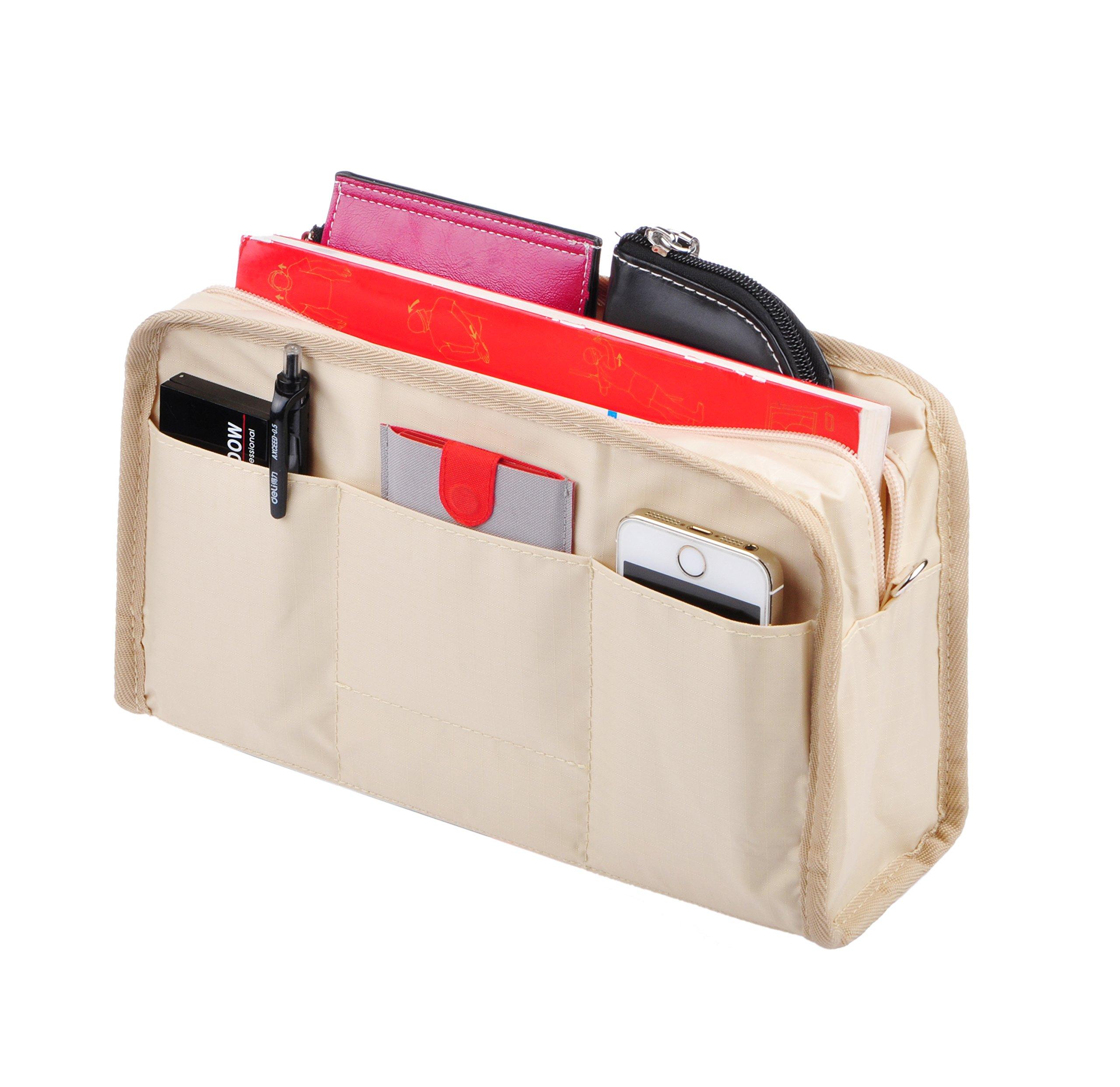 Vercord Sturdy Multi-Pocket Insert Handbag Bag Organizer Water-resistant Large Zipper Bag In Bag, Beige