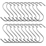 BEWISHOME S Shaped Hooks,20 PCS S Hooks for Hanging Clothes, S-Hooks Utility Hanging Hooks,S Shaped Silver Hooks Hangers for Kitchen Bathroom Bedroom Office, Chrome FYC02S