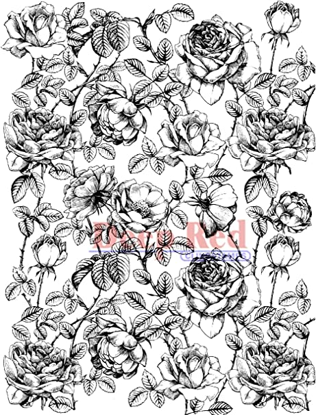 Deep Red Stamps Rose Sketch Rubber Cling Stamps