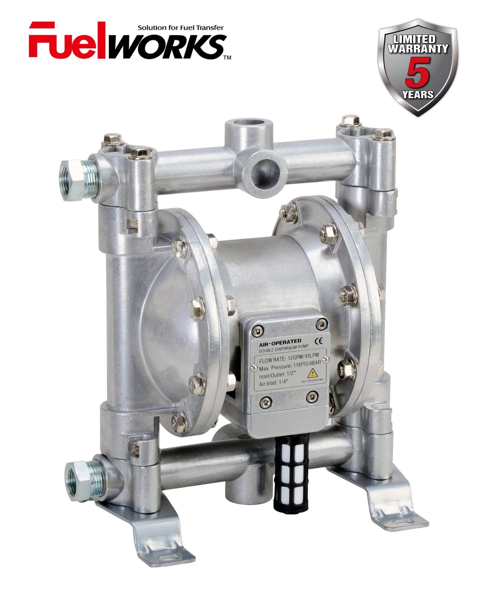FUELWORKS Heavy Duty Air-Operated Aluminium Diaphragm Pump (Nitril- 12GPM 1/2'')