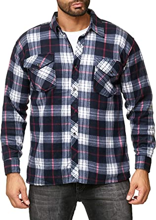 EGOMAXX Chaqueta de transición de vellón para Hombre Camisa de leñador con Aspecto de Franela a Cuadros: Amazon.es: Ropa y accesorios