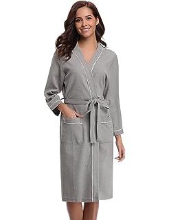 288977ef58 Aibrou Bathrobes for Women Waffle Weave Spa Robe Womens Kimono Lightweight Cotton  Robe