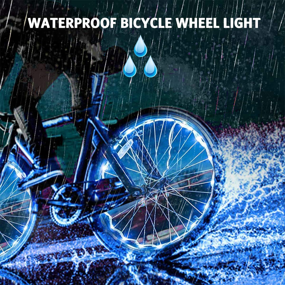 AOYOO Bicycle Wheel Light Night Light (1 Tire Pack) Waterproof 7 Color Outdoor Lighting Bicycle Tire Accessories You Can Choose Your Favorite Color 18 Flash Pattern Personality Selection, Safety Spoke by AOYOO (Image #6)