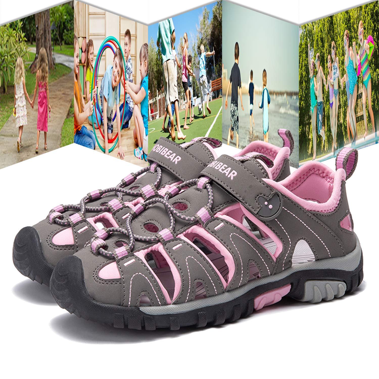 Gaatpot Sandalias Deportivas para Unisex ni/ños Aire Libre Deporte Zapatillas de Senderismo Sandalias con Punta Cerrada Zapatos Rosa 38.5 EU