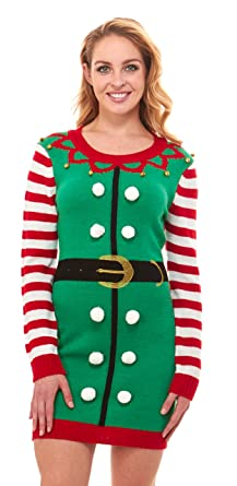 b84c26820d2b Just One Women's Knit Ugly Christmas Sweater Dress Xmas for Women (Striped  Elf, ...