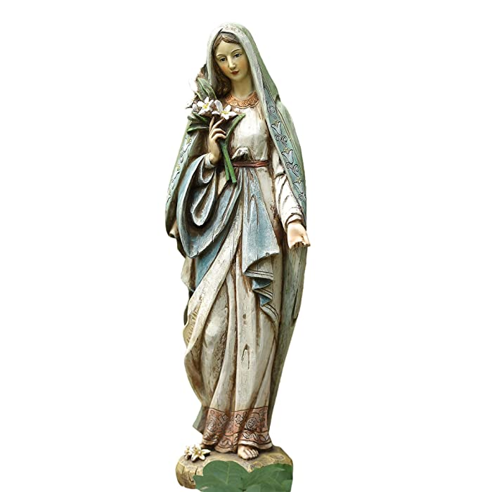 Blessed Virgin Mary Mother Madonna Lilies Garden Statue