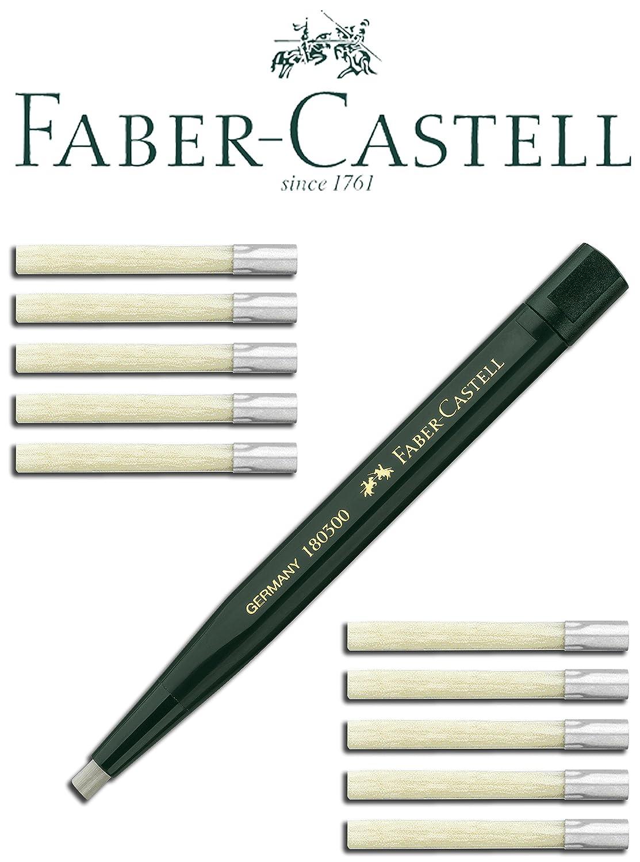 Faber-Castell 180300 - Drehstift mit Glasradierer, Schaftfarbe: Grün + 5 Ersatzminen 180600 Faber Castell 1x 180300 + 5x 180600