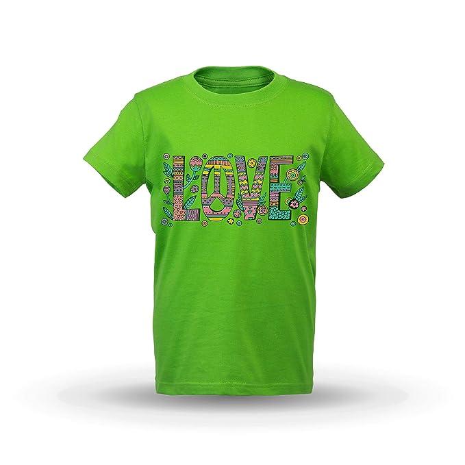 KrisTalas niños Camiseta de Las niñas Flower Power T-Shirt Love T-Shirt Freedom