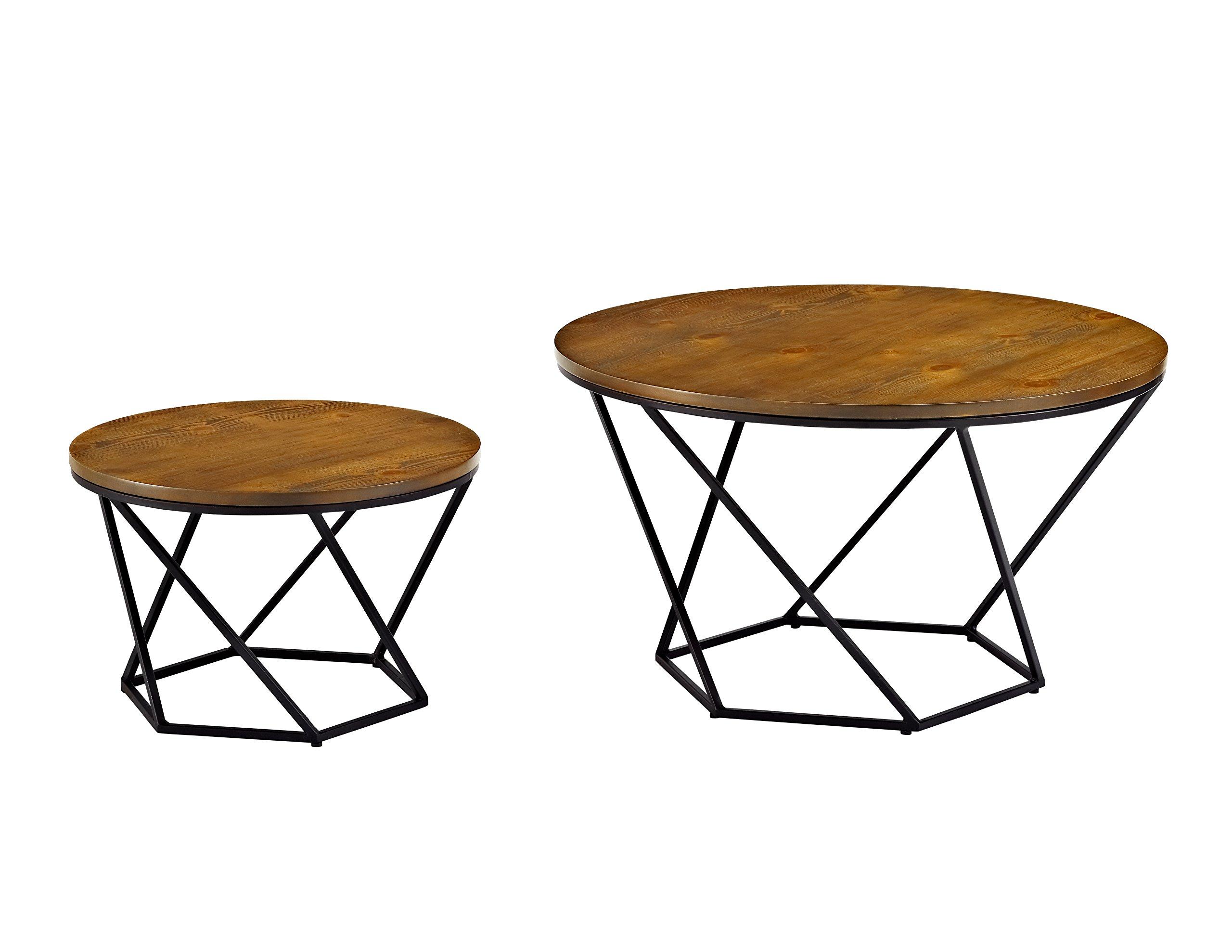 WE Furniture Geometric Wood Nesting Coffee Tables - Oak/Black by WE Furniture (Image #3)
