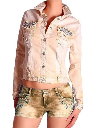 Mozzaar - Blouson - Veste en Jean - Femme Jaune Orang Medium - Jaune - 40 f9bb1c6b293