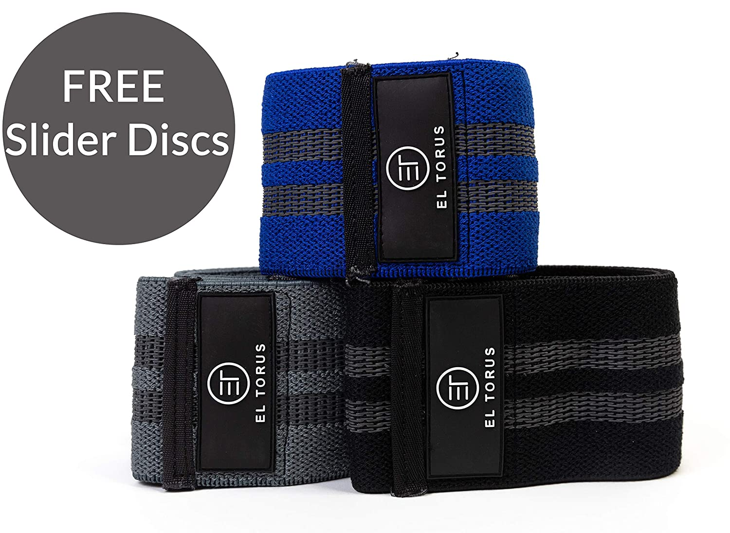 El Torus Hip Resistance Cotton Bands Set of 3 and Dual-Sided Exercise Gliding Slider Discs Perfect for Yoga, Crossfit, The Gym, Pilates, Glutes, Booty, Abs and core Workouts