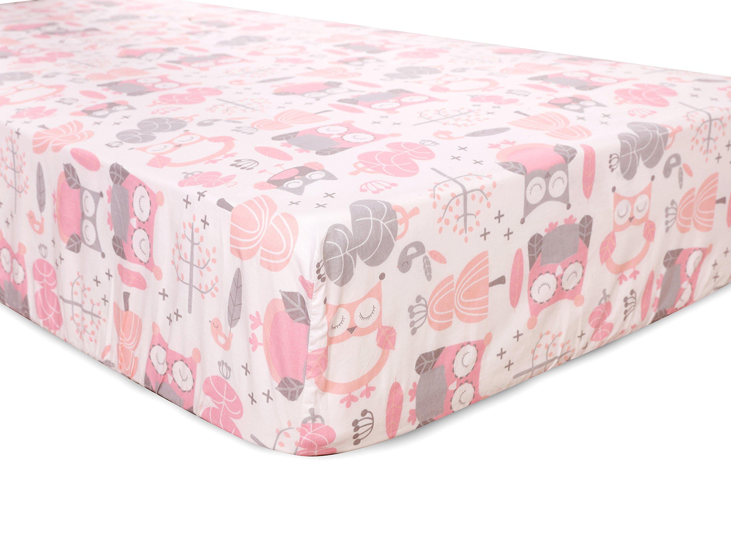 Amazon Com Levtex Baby Night Owl Pink 5 Piece Crib