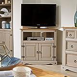 Home Source Grey TV Stand Pine 2 Door Television Cabinet Corner Unit Corona Solid Wood