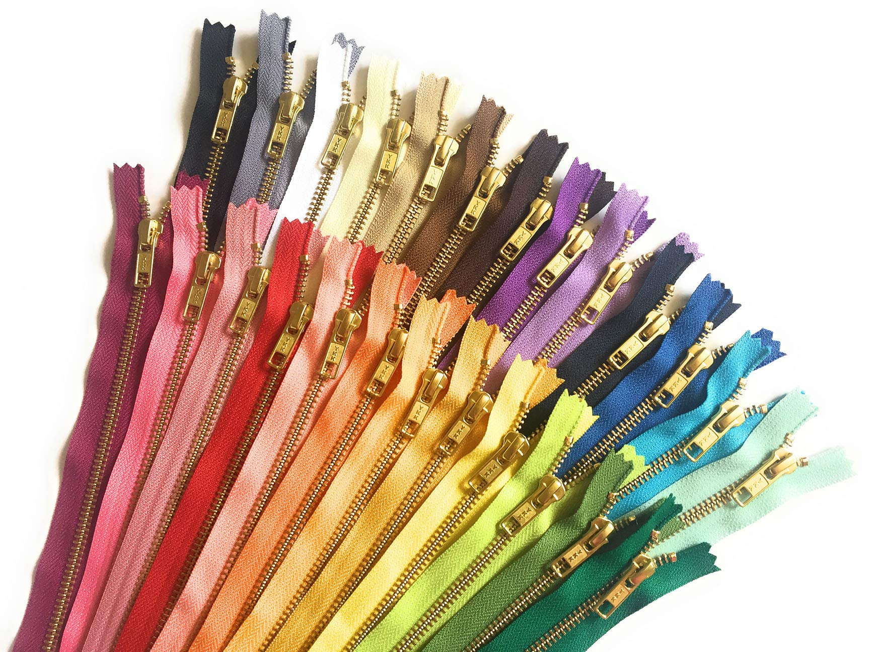 Mixed Pack of Assorted Gold Metal YKK Zippers No. 5 Use for Sewing Crafts Pouches 25 Colors by Craftbot