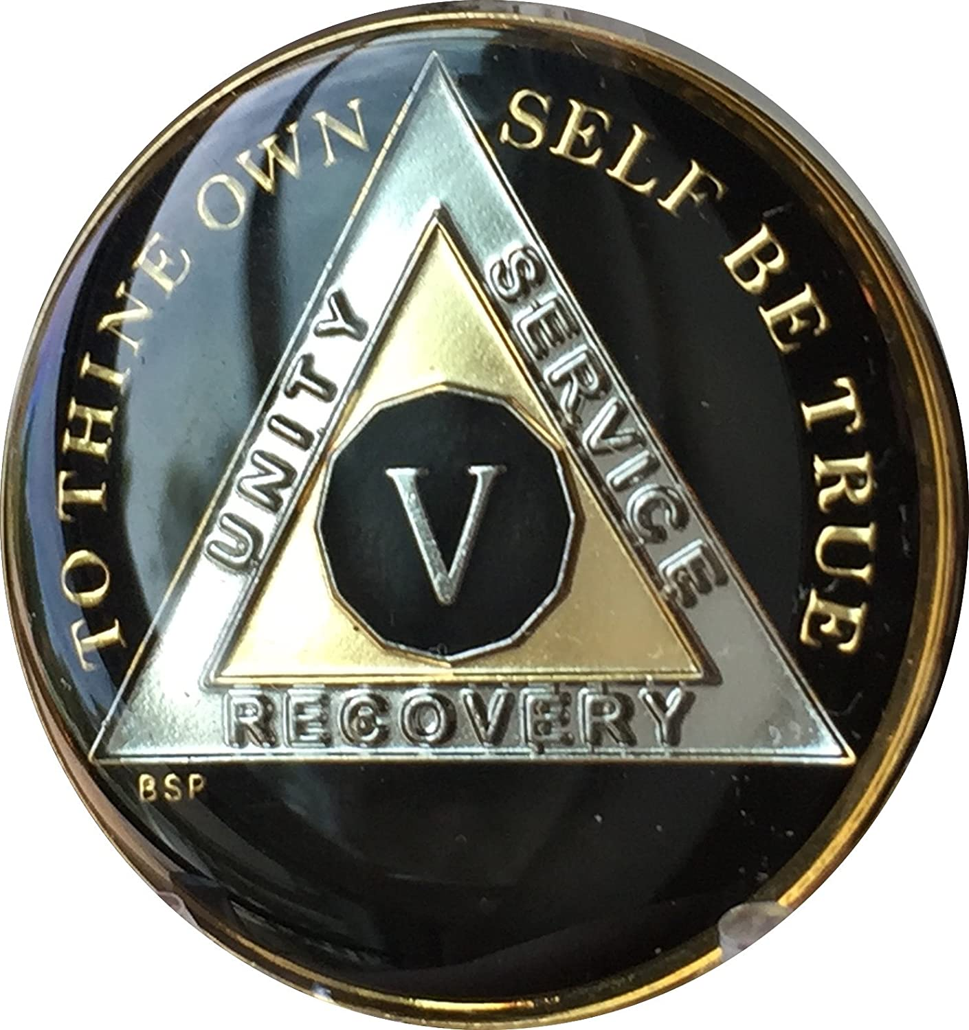AA BSP Red Gold 14 Year Coin Tri-Plate Alcoholics Anonymous Medallion Top Grade