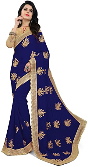 0abff42588 Raghukul Navy Blue Georgette Embroidered Saree For Women: Amazon.in ...