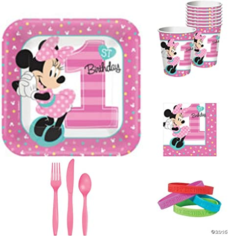 1st Birthday Minnie Mouse 9 Lunch Dinner Plates 8 count Party Supplies Minnie Fun to be One!
