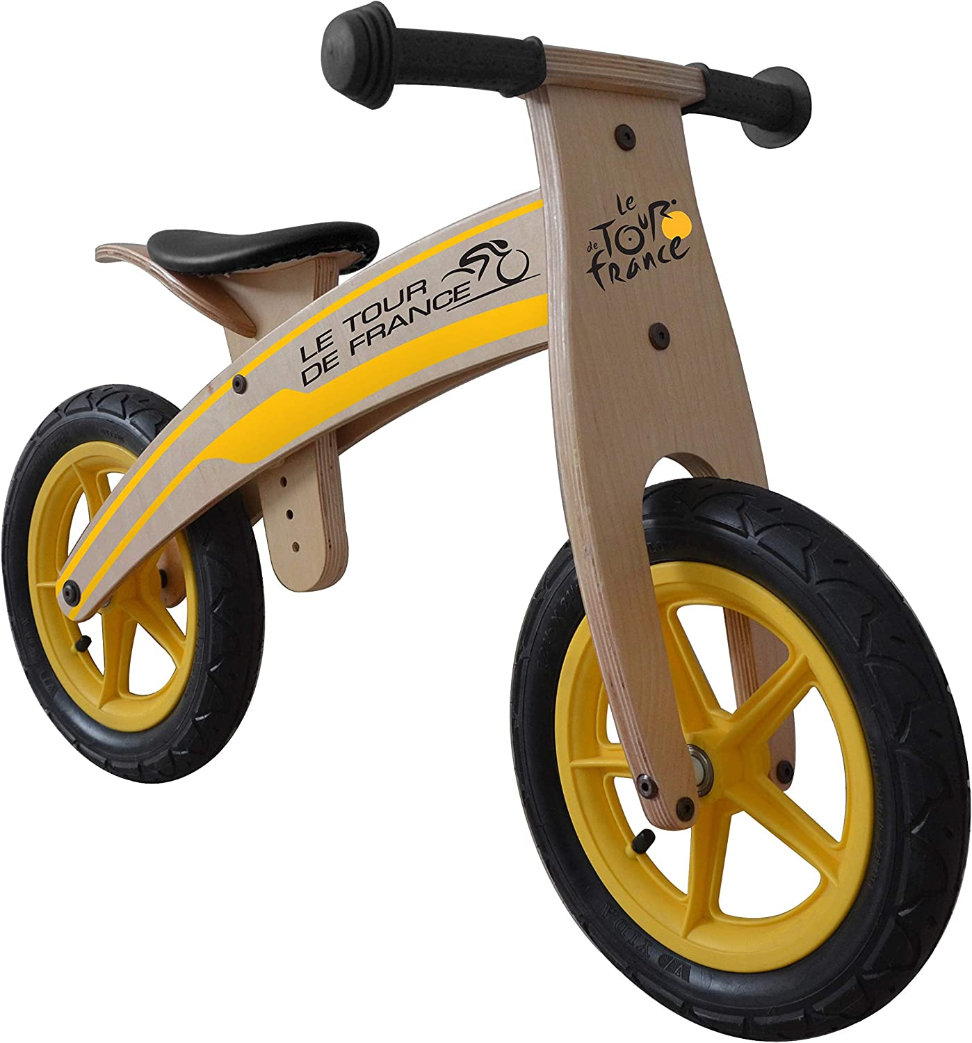 Tour de France Wood Running/Balance Bike, 12 inch Wheels, Kid's Bike, Wood Grain Color