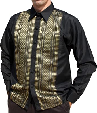 b9244becf Raan Pah Muang Brand Long Sleeve Formal Northern Thai Motif Silk Shirt,  Small, Black