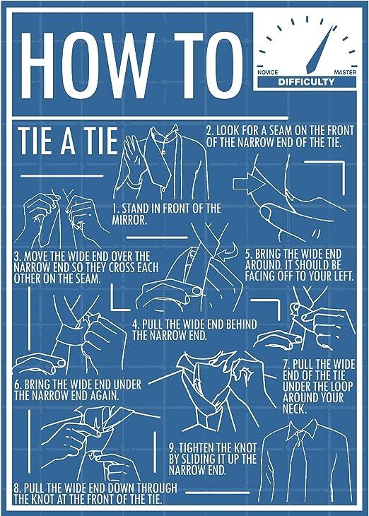 Cómo atar una corbata Póster (A3 impresión): Amazon.es: Hogar