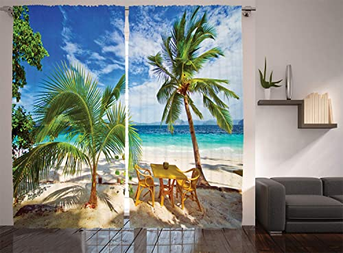 Ambesonne Coastal Curtains, Dining in Beach Under The Sun Rays Palm Trees Shadows Shades Vacation Image, Living Room Bedroom Window Drapes 2 Panel Set, 108 X 84 , Green Blue Ivory