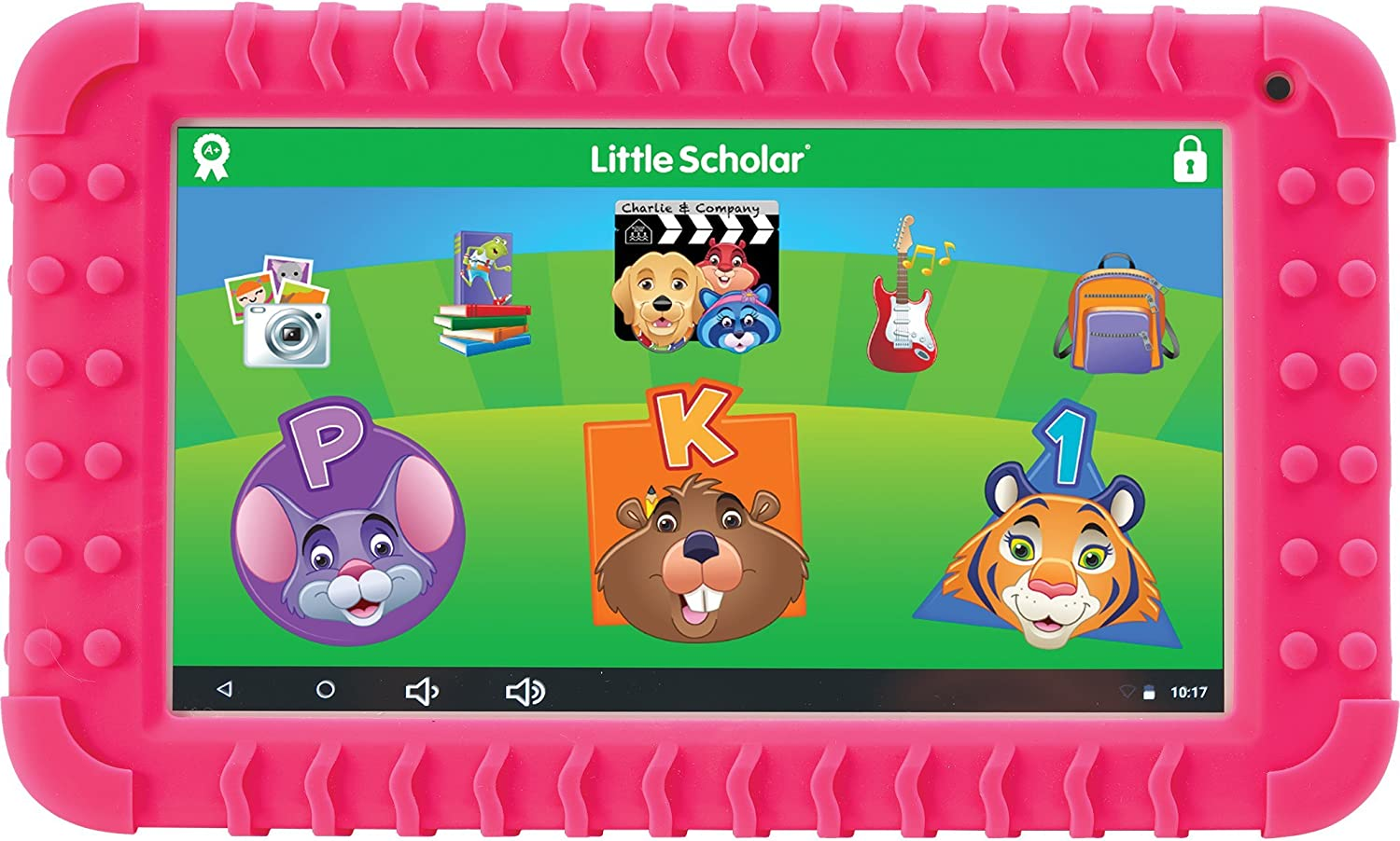 "School Zone - Little Scholar Kids Learning Tablet - Ages 3 to 7, Preschool, Kindergarten, 1st Grade, 7"" Display, 70+ Preloaded Educational Apps, Screen Protector, Silicone Bumper, 16 GB, Wifi, Camera"