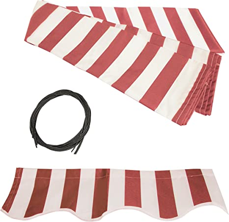 Amazon Com Aleko Fab10x8redwt05 Retractable Awning Fabric Replacement 10 X 8 Feet Red And White Striped Garden Outdoor