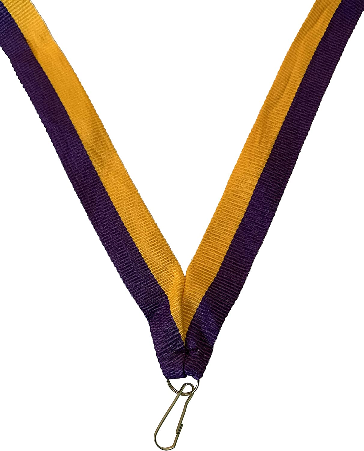 Pack of 10 Purple and Gold Neck Ribbons for Medals with Snap Clips Flat Lanyard Award