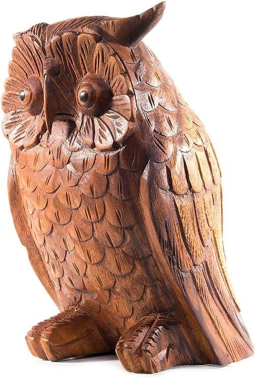 windalf Jardín Madera Figura búho Rudy H: 20 cm figura de mano de madera: Amazon.es: Jardín