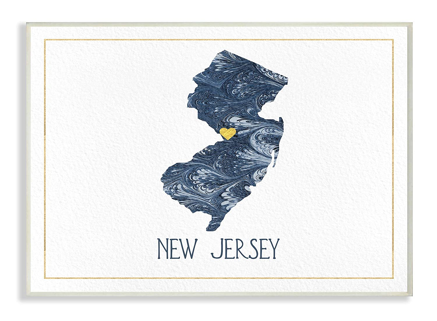 10 x 15 Multi-Color The Stupell Home Decor New Jersey Minimal Blue Marbled Paper Silhouette Wall Plaque Art